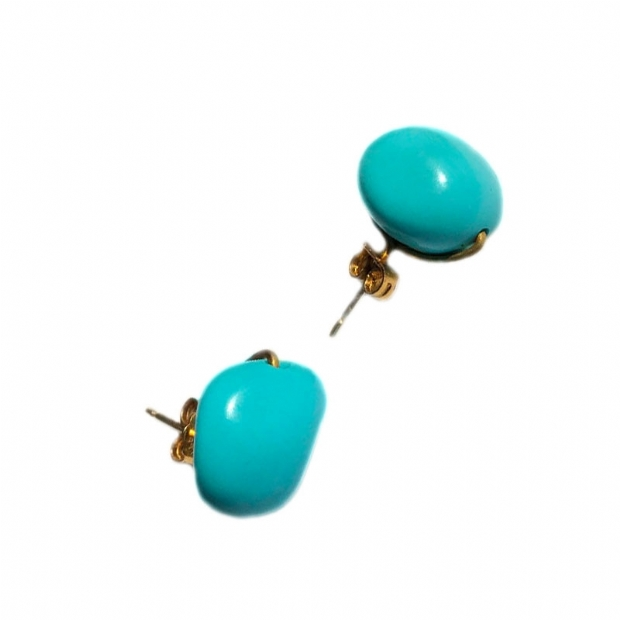 Hand made silver 925 goldplated earrings with baroque shaped natural turquoise beads